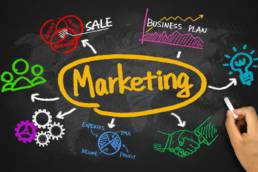 marketing with business graph and chart hand drawing on blackboard